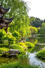미리보기 iPhone 배경 화면 미국, 캘리포니아, 헌팅턴 식물원, 연못, 나무, 파빌리온