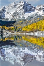 Preview iPhone wallpaper USA, Colorado, Elk Mountains, peaks, lake, snow, trees, autumn