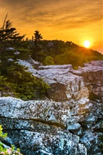 Preview iPhone wallpaper USA, West Virginia, beautiful sunset, rocks, trees, red sky