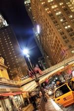 iPhone fondos de pantalla USA ciudades, noche, rascacielos, taxis, luces