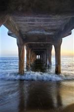 Preview iPhone wallpaper Under the pier bridge, beach, sea, coast