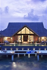 Preview iPhone wallpaper Villa in the sea, house, living room, lights, evening, resort