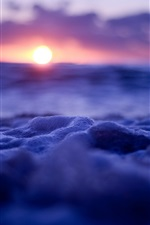 Preview iPhone wallpaper Waves and bubbles, sunset, blue style
