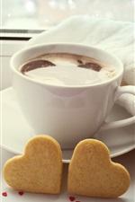 iPhone fondos de pantalla taza de café blanco, dos corazones de amor