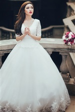 Preview iPhone wallpaper White dress Asian girl, bride, flowers