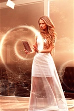 Preview iPhone wallpaper White dress magic girl, window, creative design