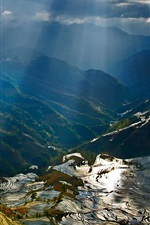 Preview iPhone wallpaper Yuanyang terraces, mountains, sun rays, rice fields, China countryside