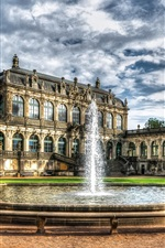 Preview iPhone wallpaper Zwinger Palace, Dresden, Germany, houses, fountain, clouds