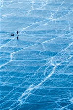 Preview iPhone wallpaper lake Baikal, ice surface, blue, Russia
