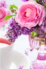 Preview iPhone wallpaper A cup of tea, lilac and rose, bouquet, vase