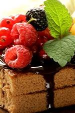 Um bolo pedaço, chocolate, bagas, framboesa, hortelã, sobremesa