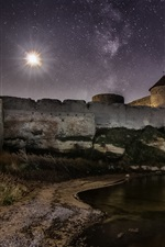 Preview iPhone wallpaper Ackerman, Ukraine, stars, castle, river, night