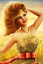Preview iPhone wallpaper Art drawing, smile girl in summer, wheat field