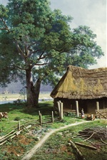 Preview iPhone wallpaper Art painting, farm, farmer, houses, countryside, cow, river, trees