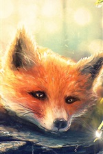Preview iPhone wallpaper Art painting, fox in forest, water droplets, flowers