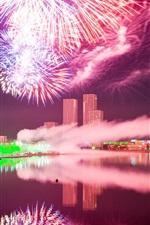 Astana, city night, Kazakhstan, fireworks, river, buildings