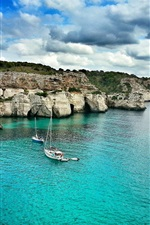 Preview iPhone wallpaper Baleares, Majorque, sea, boats, clouds