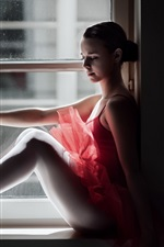 Preview iPhone wallpaper Ballerina sit at window side