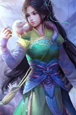 Preview iPhone wallpaper Beautiful Chinese fantasy girl, retro style