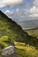 Preview iPhone wallpaper Beautiful Ireland nature landscape, mountains, grass, clouds