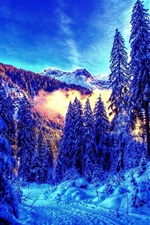 Preview iPhone wallpaper Beautiful winter, thick snow, mountain, trees, fog