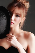 Black dress Asian girl, hat, hands