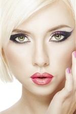 Preview iPhone wallpaper Blonde girl makeup, short hair, lip