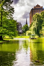 Preview iPhone wallpaper Boston, Massachusetts, USA, park, trees, pond, grass