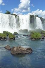 Brazilian Iguazu Falls, stones, grass, blue sky, clouds