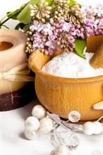 Preview iPhone wallpaper Candles, flowers, salt, seashells