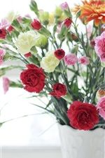 Preview iPhone wallpaper Carnations, pink red and white flowers, vase