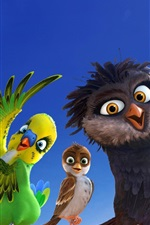 Preview iPhone wallpaper Cartoon movie, parrot, sparrow, owl