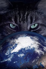 Preview iPhone wallpaper Cat catch Earth, creative pictures