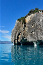 Preview iPhone wallpaper Cathedral Cave, blue sea, boat, New Zealand