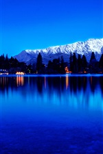 City view, lights, lake, water reflection, mountains, twilight