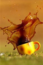 Preview iPhone wallpaper Coffee splash, cup, grass, water drops