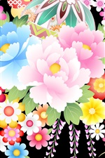 Preview iPhone wallpaper Colorful vector flowers