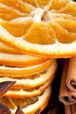 Dry food, lemons slices, spices, cinnamon