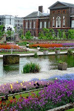 Preview iPhone wallpaper England, London, Kensington, park, flowers, house