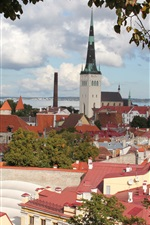 Preview iPhone wallpaper Estonia, Tallinn, city, houses, river