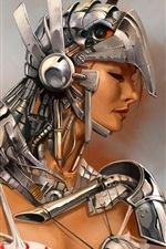 Fantasy girl, metal armor, warrior
