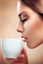 Preview iPhone wallpaper Fashion girl drink coffee