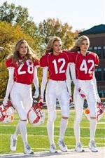 modelos de moda, vestuário desportivo, cinco meninas