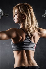 Preview iPhone wallpaper Fitness girl, pose, muscle
