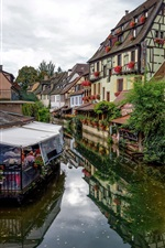 Preview iPhone wallpaper France, Colmar, town, cafe, river, houses