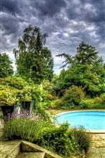 Jardim, piscina, árvores, flores, nuvens