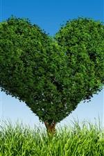 미리보기 iPhone 배경 화면 녹색 사랑 마음 나무, 잔디