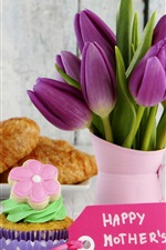 Happy Mother's Day, croissant, cake, tulip flowers