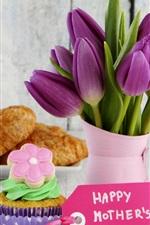 미리보기 iPhone 배경 화면 해피 어머니의 날, 크루아상, 케이크, 튤립 꽃