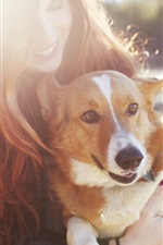 Preview iPhone wallpaper Happy girl and dog
